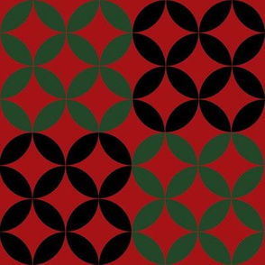 Christmas Diamond Circles in Black Green and Red