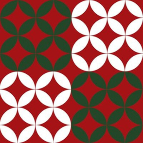 Christmas Circles in Red Green and White