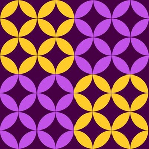 Diamond Circles in Purple and Yellow