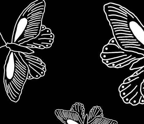 butterfly trios enlarged fabric by jennablackzen on Spoonflower - custom fabric