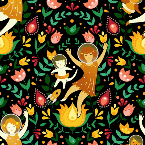 Scandinavian astronauts fabric by elena_naylor on Spoonflower - custom fabric