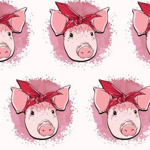 Pink Pig Wearing Bandana