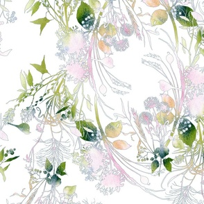 pink and green swirls of watercolor images of birds, dandelions, and meadow grass