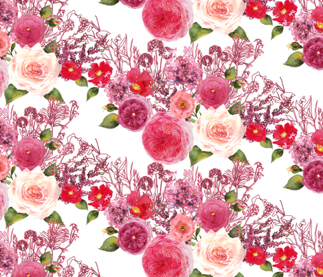 watercolor blush pink, dark pinks, res, and purples old fashion roses fabric by madeinskandia on Spoonflower - custom fabric
