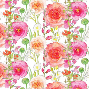 Pink watercolor flowers and roses and vines