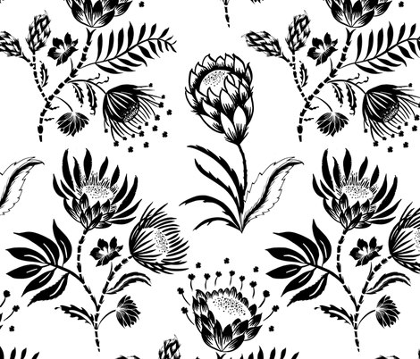 Protea Black and White fabric by jill_o_connor on Spoonflower - custom fabric