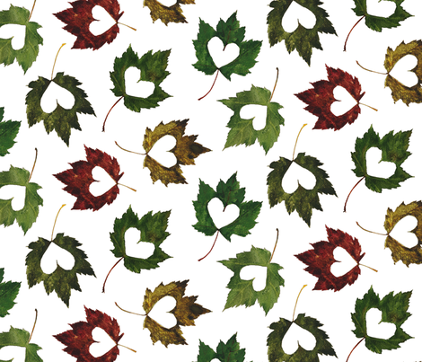 I heart leaves watercolor print fabric by madeinskandia on Spoonflower - custom fabric