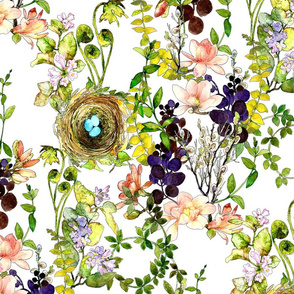 Watercolor of meadow wildflowers and a bird nest