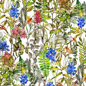 Watercolor print of meadow bluebonnet wildflowers