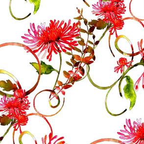 Pink watercolor mum with swirls
