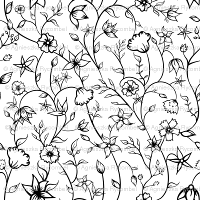 Indian Floral Ornaments in black and white.