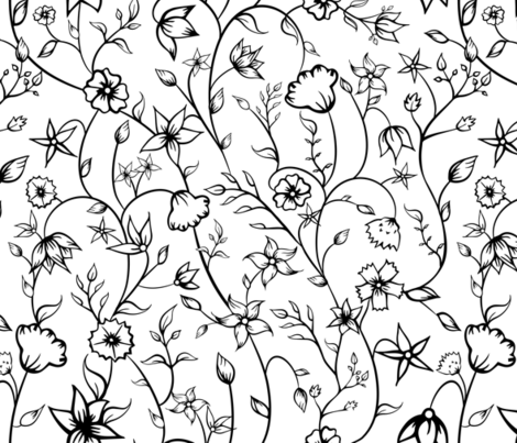 Indian Floral Ornaments in black and white. fabric by agnieszka_rycombel on Spoonflower - custom fabric