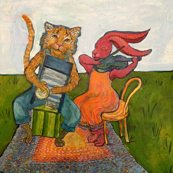 Cat and Rabbit Portrait with Washboard and Fiddle