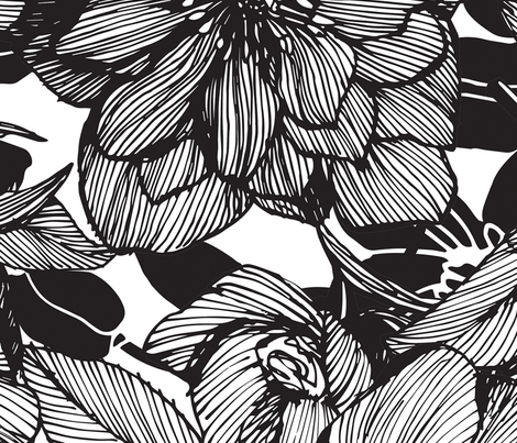 Hellebore lineart florals | LARGE fabric by camcreative on Spoonflower - custom fabric