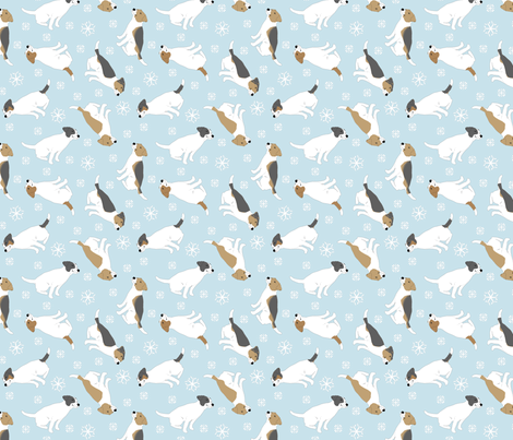 Tiny Jack Russell Terriers smooth coat - winter snowflakes fabric by rusticcorgi on Spoonflower - custom fabric