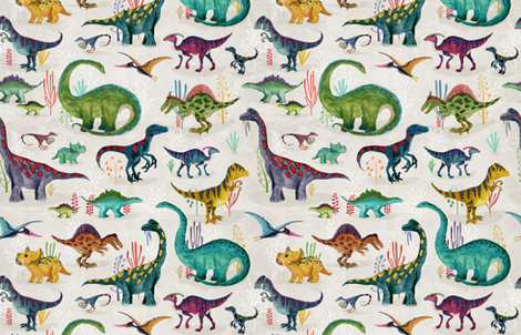 Dinosaurs bright {large} fabric by katherine_quinn on Spoonflower - custom fabric