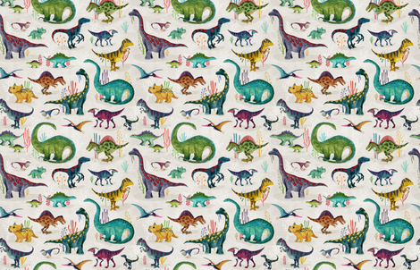 Dinosaurs bright {small} fabric by katherine_quinn on Spoonflower - custom fabric