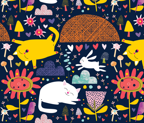 Scandi Cats by Mount Vic and Me fabric by mountvicandme on Spoonflower - custom fabric