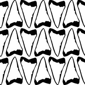 large print shark tooth teeth black