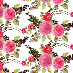 Pink watercolor old fashioned roses