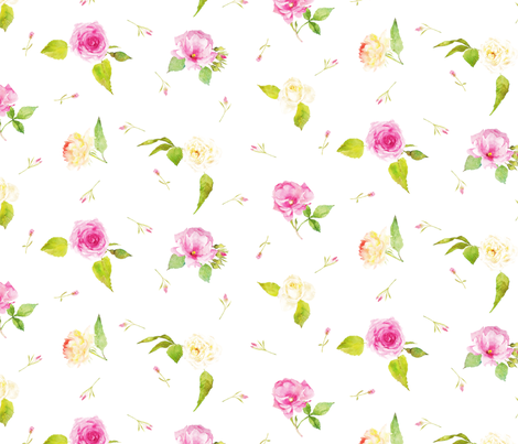 pink and  white roses in watercolor fabric by madeinskandia on Spoonflower - custom fabric