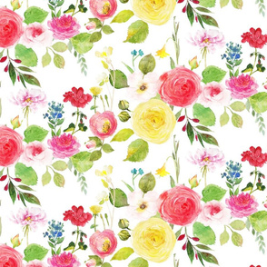 rose garden with blue, pink, yellow, and red flowers in watercolor