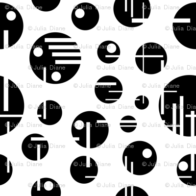 Black and White Circles and Lines