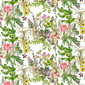 wild roses and wildflowers in watercolor