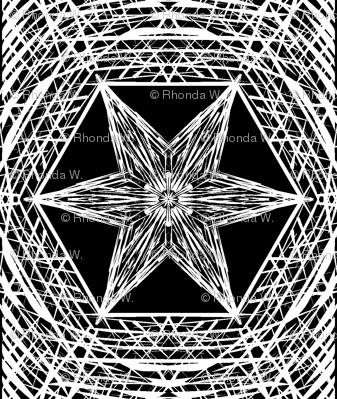 Sketchy Hexi Stars of White on Deep Black - Medium Scale