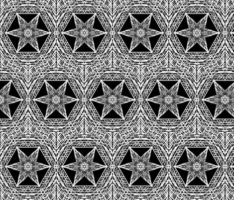 Sketchy Hexi Stars of White on Deep Black - Medium Scale fabric by rhondadesigns on Spoonflower - custom fabric