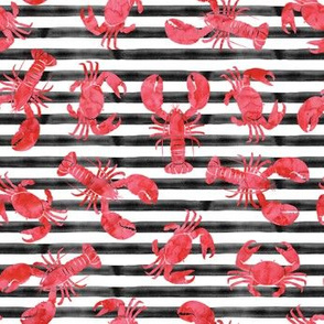 lobsters and crabs on  black stripes