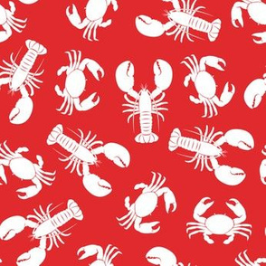 lobsters and crabs on red