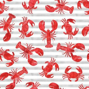 lobsters and crabs on grey stripes