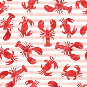 lobsters and crabs on pink stripes