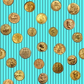 Anchient Gold Coins on Aquamarine Pinstripes