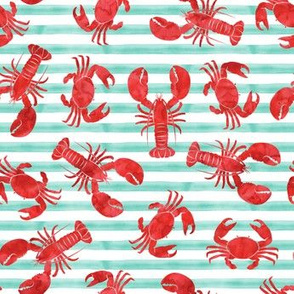 lobsters and crabs on aqua stripes