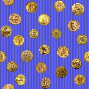Anchient Gold Coins on Periwinkle Pinstripes