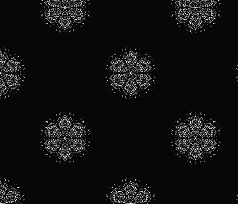 Black and White Snowflake Small fabric by mce_art on Spoonflower - custom fabric