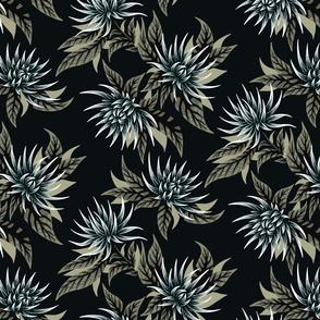 Chrysanthemums - Khaki / Black