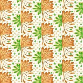 Autumnal Leafy Fans with Spots and Dots on White - Extra Small Scale