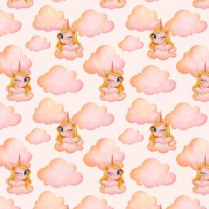 Sweet Unicorn on pink cloud