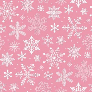 Snowflakes Christmas on Pink 2 inch Small