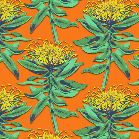 protea on orange fabric by susiprint on Spoonflower - custom fabric