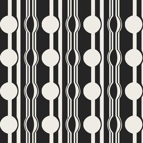 geo six dot stripe-ivory on charcoal