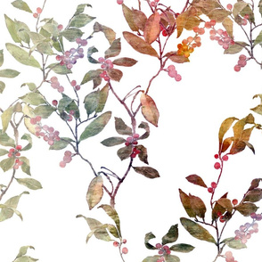 Large watercolor of a winter berry branch