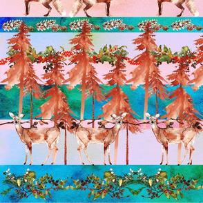 Watercolor woodland flora and fauna in fairisle
