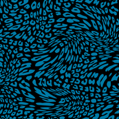 Cerulean Blue Black Color Animal Leopard Skin Twist Pattern