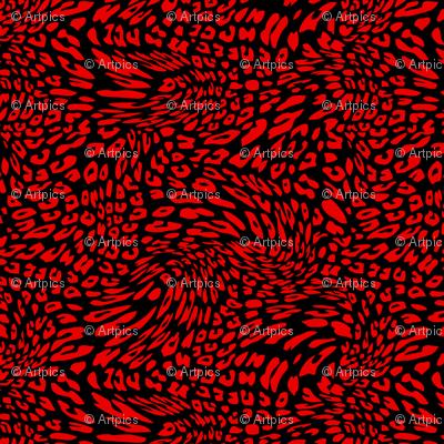 Christmas Red Black Color Animal Leopard Skin Twist Pattern