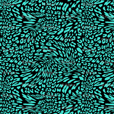 Turquoise Black Color Animal Leopard Skin Twist Pattern