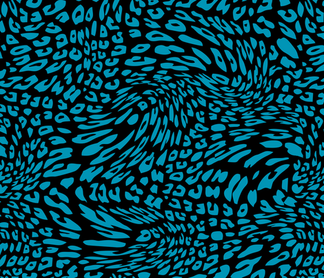 Blue Green Black Color Animal Leopard Skin Twist Pattern fabric by artpics on Spoonflower - custom fabric